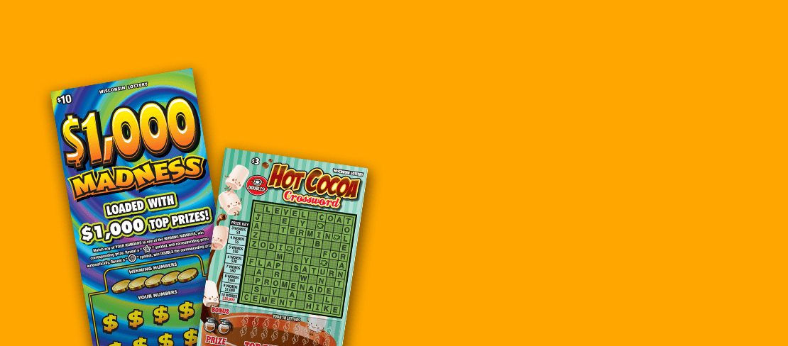 new scratch tickets with colorful tie-dye design and cup of hot chocolate with marshmallows from Wisconsin Lottery
