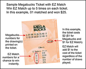 Wisconsin Lottery Lotto Game EZ Match ticket