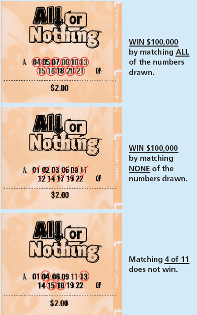 Wisconsin Lottery Lotto Game Daily All or Nothing Ticket