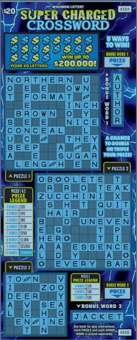 Super Charged Crossword instant scratch ticket from Wisconsin Lottery