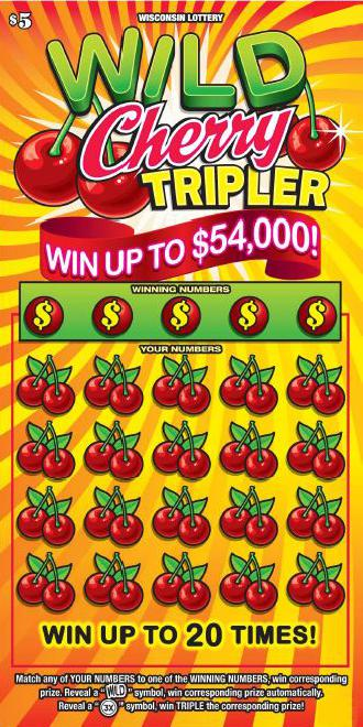 image of scratch ticket with yellow stripes as the background and lots of cherries on the game the cherries also cover up the play area on scratch ticket from wisconsin lottery