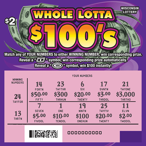 purple background with play area scratched revealing pink play area on scratch ticket from wisconsin lottery