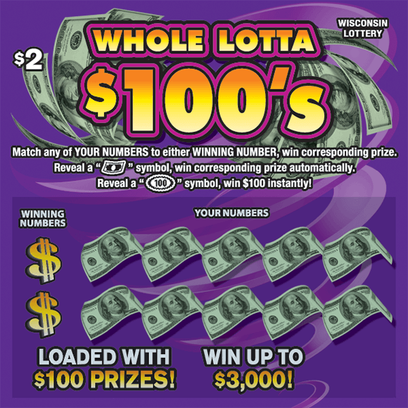 purple background with green dollar bills over the ticket numbers on scratch ticket from wisconsin lottery