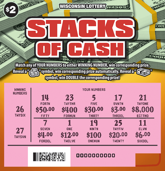 Yellow background with stacks of dollar bills and a pink revealed play area on scratch ticket from wisconsin lottery