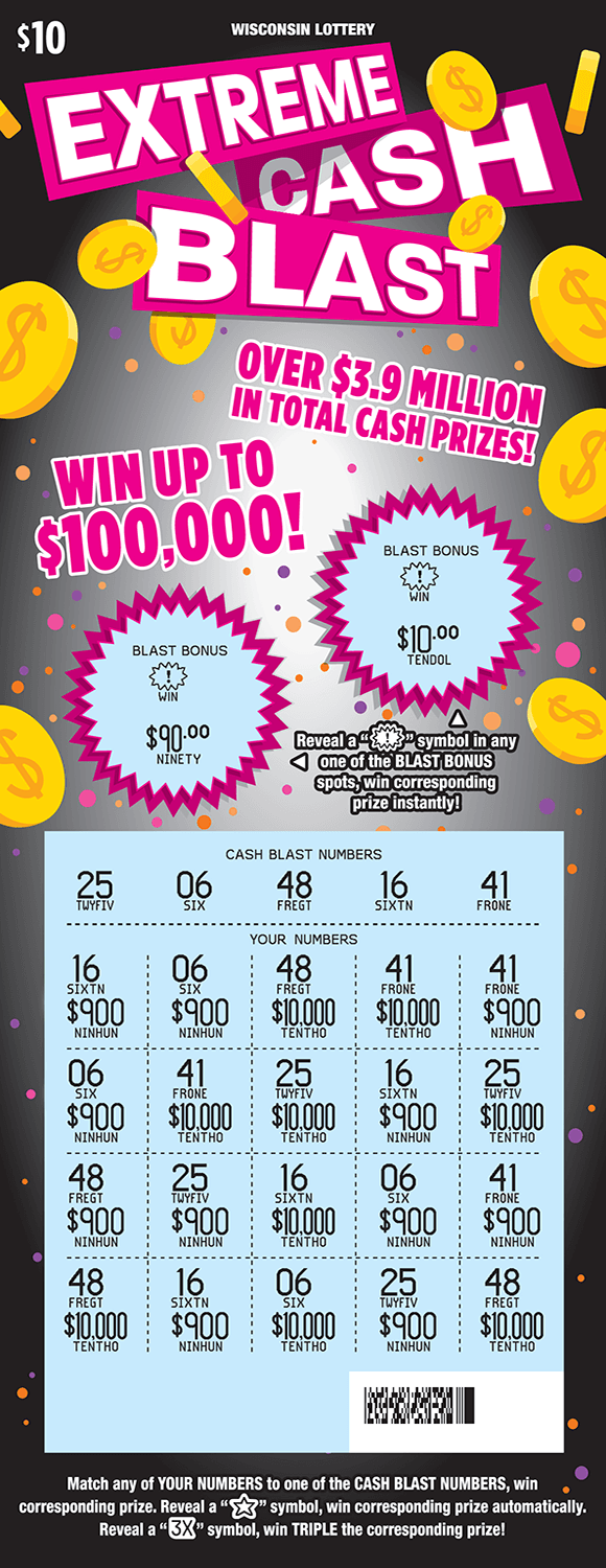 image of scratch ticket with yellow dollar coins floating around and a gray background with pink orange and purple dots as well as circles with spikes for the game numbers on scratch ticket and play area is scratched off revealing a blue play area from wisconsin lottery