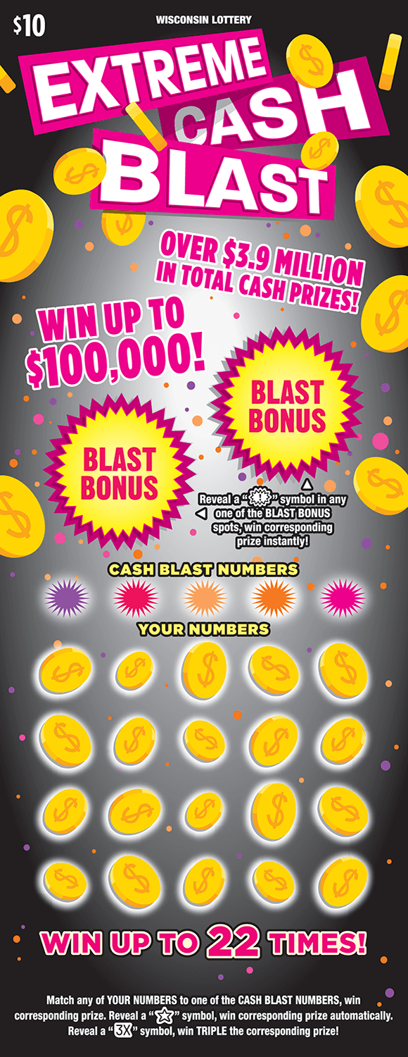image of scratch ticket with yellow dollar coins floating around and a gray background with pink orange and purple dots as well as circles with spikes for the game numbers on scratch ticket from wisconsin lottery