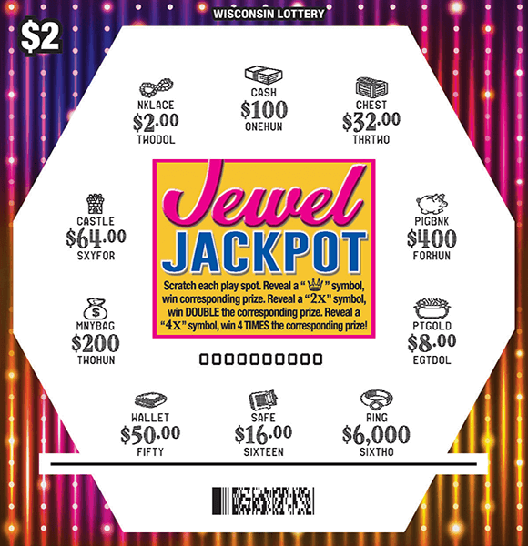 image of hexagon shape containing different colored jewels that are scratched to reveal a white play area and a flashy rainbow background on scratch ticket from wisconsin lottery