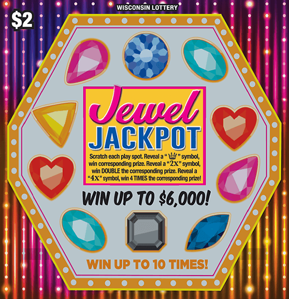 image of hexagon shape containing different colored jewels and a flashy rainbow background on scratch ticket from wisconsin lottery