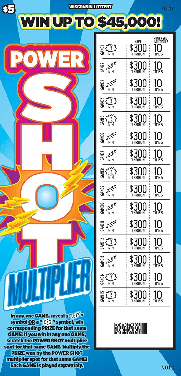 image of scratch ticket with light and dark blue striped background lightning bolts and stars play area is scratched revealing a white play area on scratch ticket from wisconsin lottery