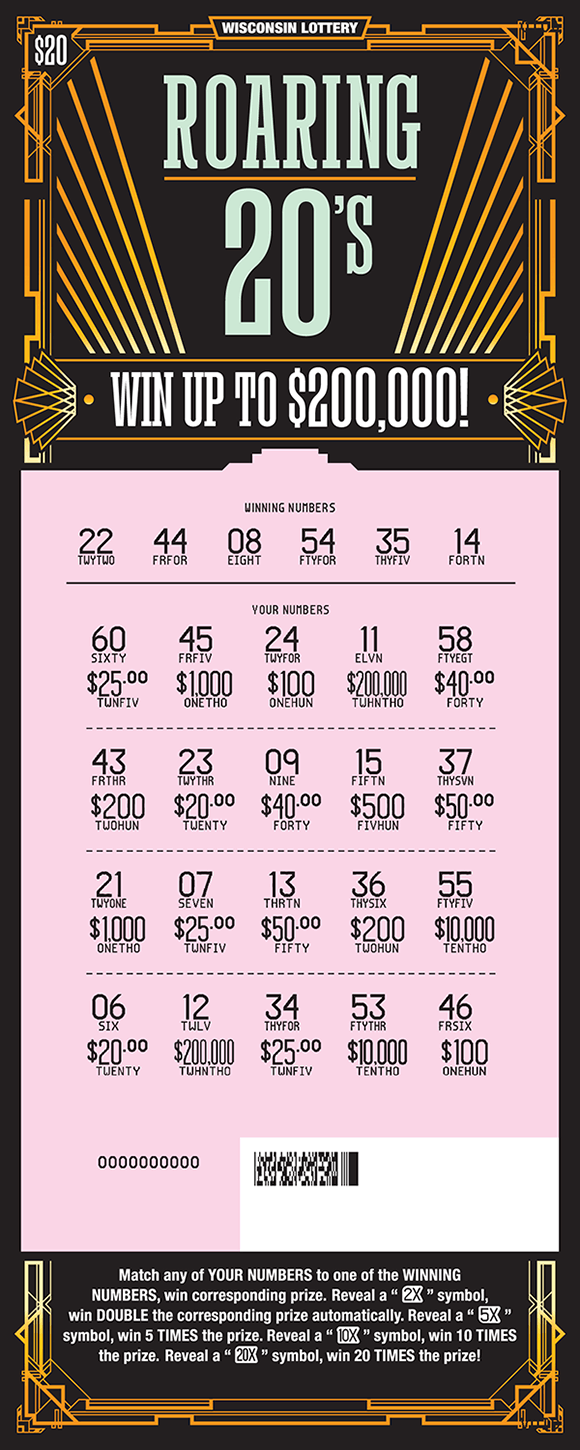 image of scratch ticket with a black background and gold lines and designs and play area is scratched off revealing pink play area on scratch ticket from wisconsin lottery