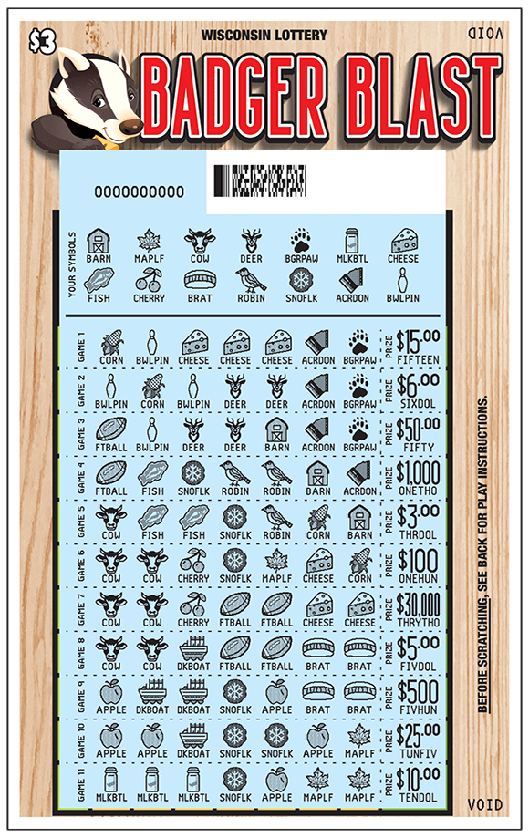 Picture of ticket with a chart containing many symbols that have been scratched to reveal a blue play area with symbols including footballs, cherries, cows, barns, corn, apples, snowflakes, cheese, deer, leaves on scratch ticket from wisconsin lottery