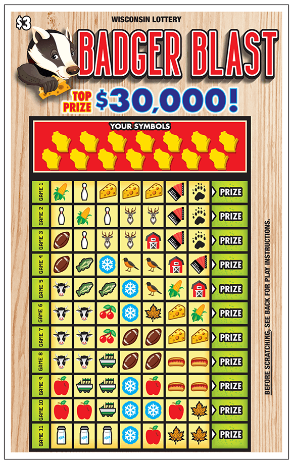 Picture of ticket with a chart containing many symbols to be scratched off including footballs, cherries, cows, barns, corn, apples, snowflakes, cheese, deer, leaves on scratch ticket from wisconsin lottery