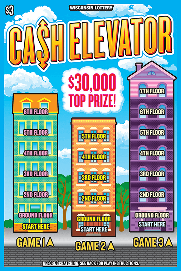 image of ticket with 3 buildings on a street each containing different prize s on each level with a blue sky in the background on scratch ticket from wisconsin lottery