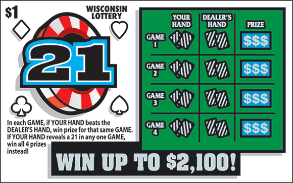 image of scratch ticket containing poker chip with the number 21 in it and in the play area there is a section for the dealers hand and the players hand of cards on scratch ticket from wisconsin lottery