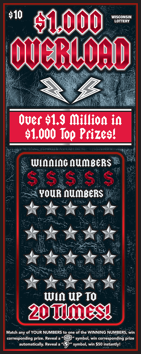 image of dark gray scratch ticket with red writing and lightning bolts as well as stars covering the winning numbers in the play area on scratch ticket from wisconsin lottery