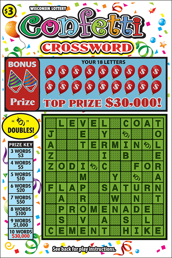 image of scratch ticket with a green crossword grid and images of confetti on the background of the ticket with balloons covering the non-revealed crossword letters on scratch ticket from wisconsin lottery