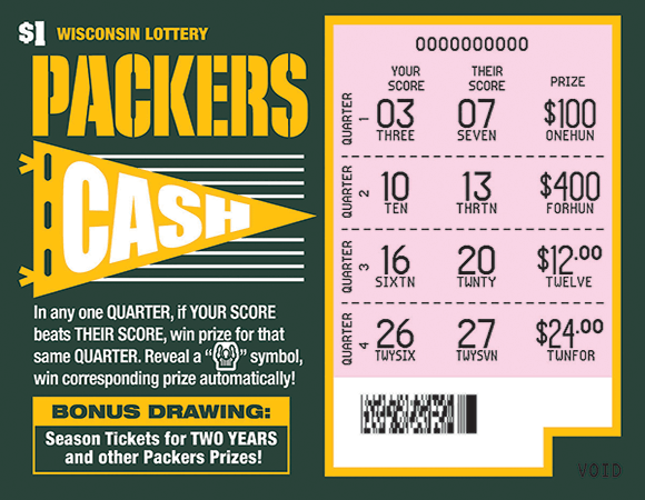 image of ticket with a green background a the packers logo with images of footballs and football helmets with the packers g on them on scratch ticket from wisconsin lottery