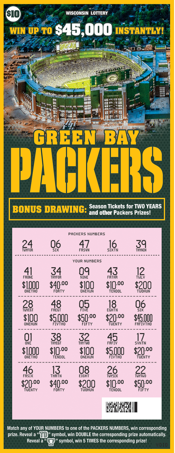 image of scratch ticket with green background and an image of lambeau field from above on scratch ticket from wisconsin lottery