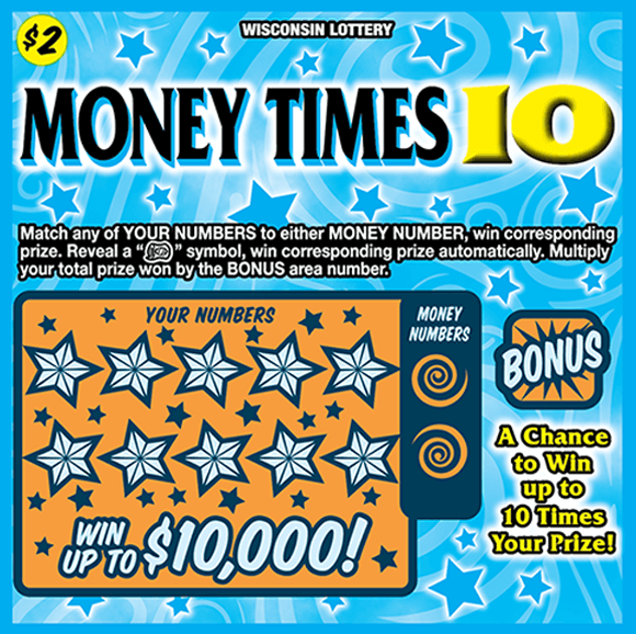 image of ticket with a blue background containing stars and swirls play area is orange with more stars covering winning numbers on scratch ticket from wi lottery