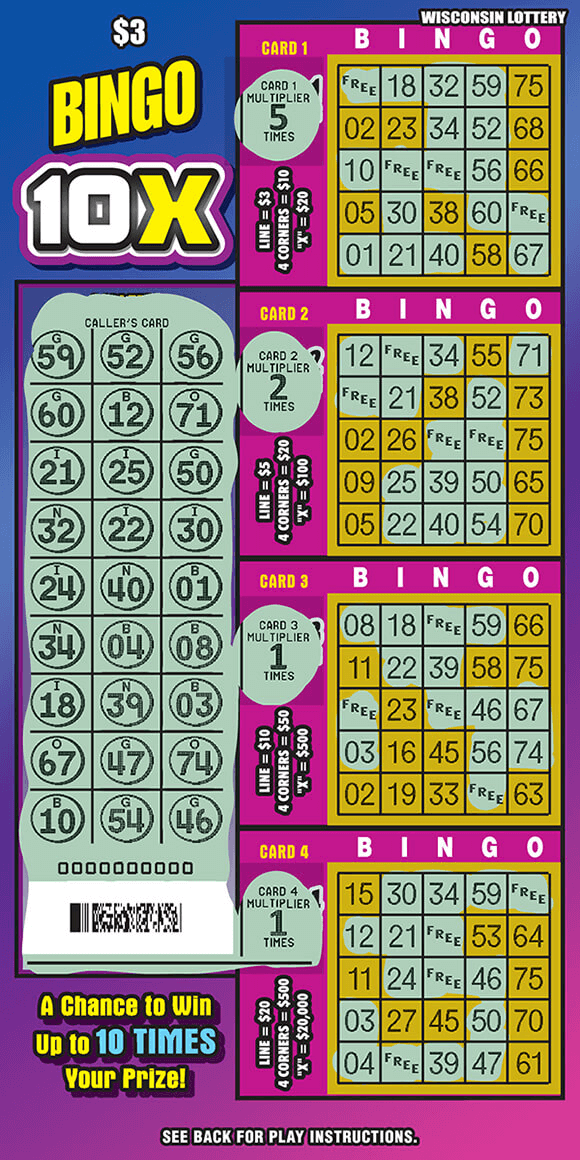 image of ticket with a pink and blue ombre background and four different yellow play area grids that are scratched to reveal blue scratched off areas on ticket on scratch ticket from wisconsin lottery
