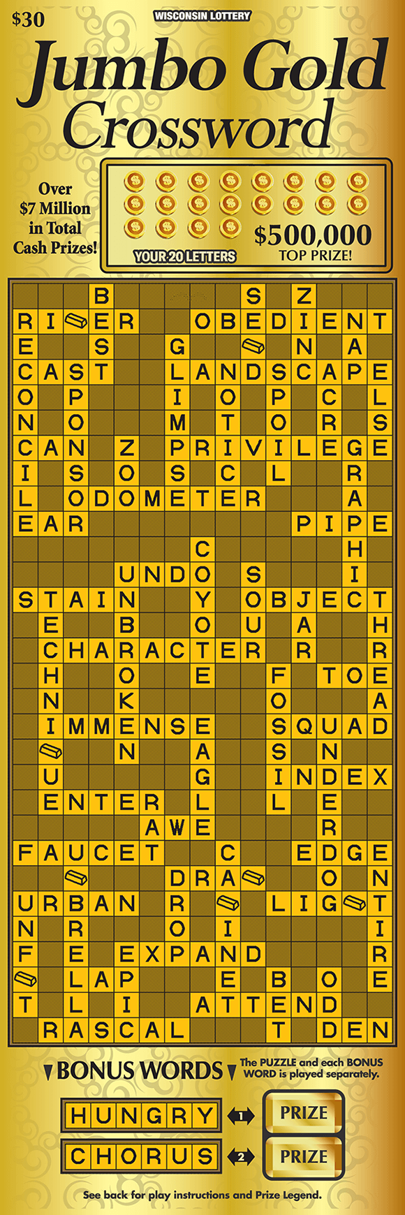 image of oversized crossword ticket with a solid gold background with a lighter gold crossword play area on scratch ticket from wisconsin lottery
