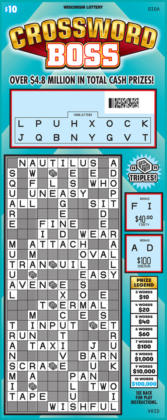 image of crossword ticket with a light blue background and one crossword containing dollar bill stack symbols on scratch ticket from wisconsin lottery
