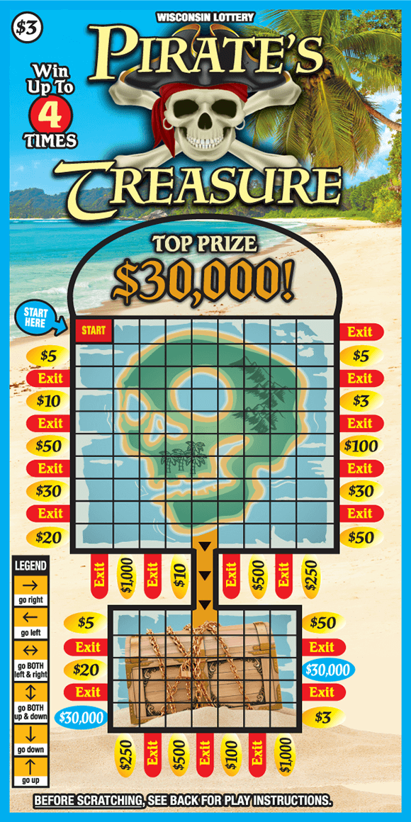 image of scratch ticket on a white sandy beach with an ocean and palm tree in the background and the play area has a grid with an image of skeleton in the background that leads to a treasure chest on scratch ticket from wisconsin lottery