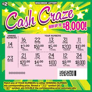 lottery scratch ticket with bursts of green and yellow with play area scratched