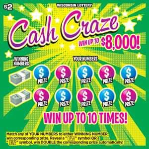 lottery scratch ticket with bursts of green and yellow with pink text