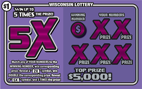 Picture of purple ticket with large 5x symbol and pink x's over the winning numbers on scratch ticket from wisconsin lottery