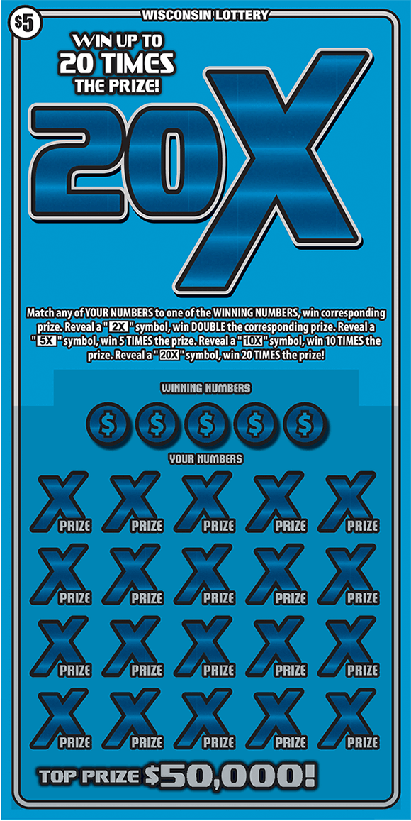 image of scratch ticket with a light blue background and a large 20x symbol in a darker blue with multiple dark blue x's over the winning numbers in the play area on scratch ticket from wisconsin lottery