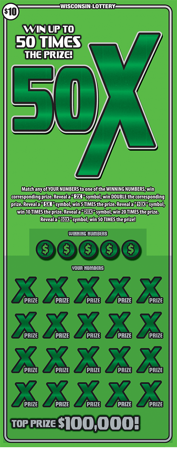 image of scratch ticket with a light green background and a large 50X symbol in a darker green with multiple x's covering the winning numbers in a darker green in the play area on scratch ticket from wisconsin lottery