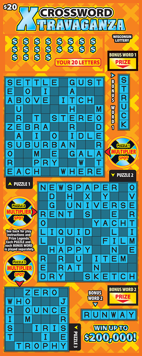 dark orange background with light orange and yellow x patterns behind three turquoise crossword grids on wisconsin lottery scratch ticket