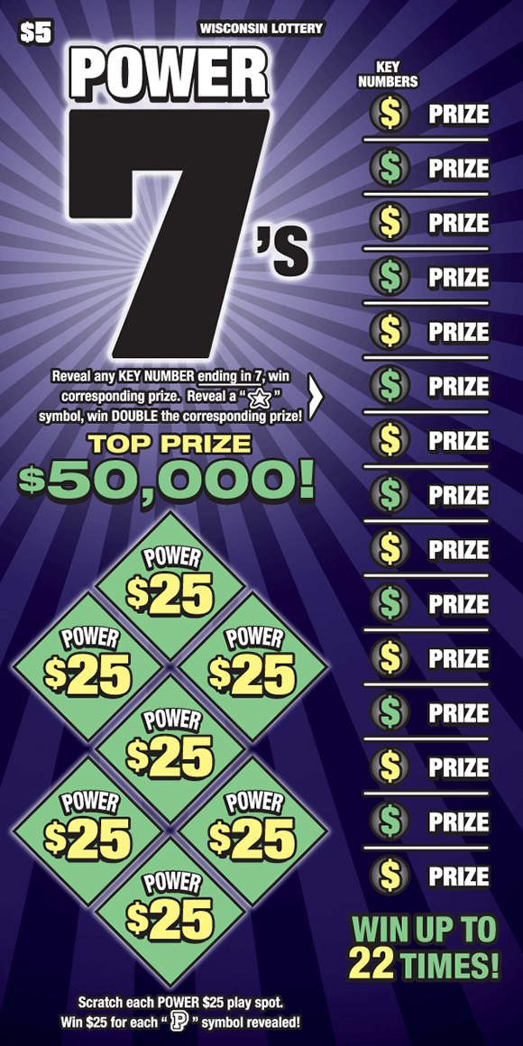 purple and black spiral background with green power play area and dollar symbols with corresponding prizes on right side of ticket all the way down