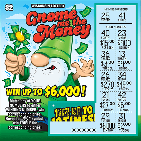 picture of ticket with an image of a gnome standing on grass wearing a green pointy hat holding a green flower and the play area is scratched revealing the winning numbers  on scratch ticket from wisconsin lottery