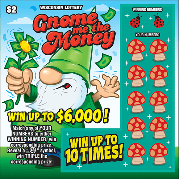 picture of ticket with an image of a gnome standing on grass wearing a green pointy hat holding a green flower and there are mushrooms covering the winning numbers in the play area on scratch ticket from wisconsin lottery