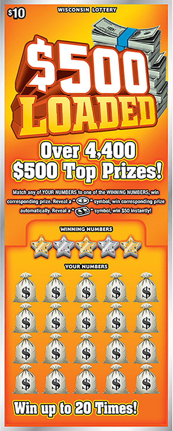 image of ticket with a yellow background and stacks of cash in the top right corner while the play area has bags of money over the winning numbers area on scratch ticket from wisconsin lottery