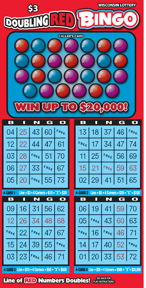 image of scratch ticket with a red background and winning numbers on top covered by red and blue balls there is four play area grids on scratch ticket from wisconsin lottery