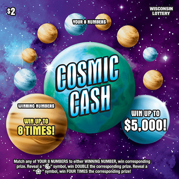 image of scratch ticket with a purple blue and black background of a galaxy and the winning numbers are hidden behind planets that need to be scratched to be revealed on scratch ticket from wisconsin lottery