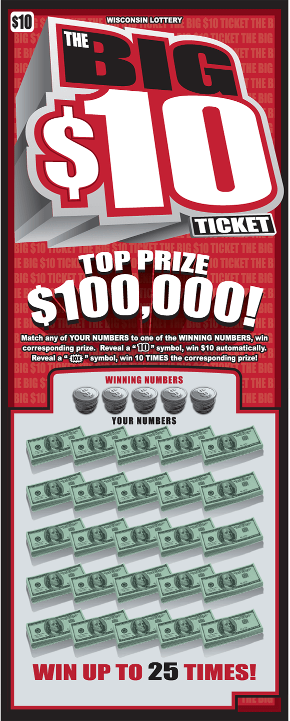 ticket background consists of a red background and repeating words written in white that say the big $10 ticket with the words big 10 largely printed over that in black red and white 3d letters on scratch ticket from wisconsin lottery