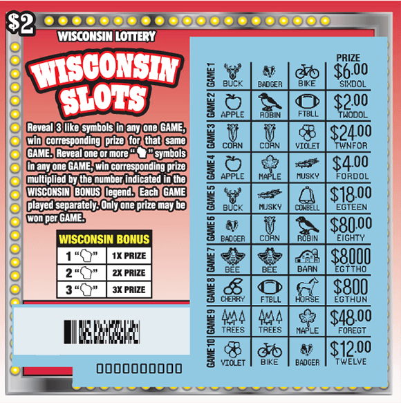 image of scratch ticket with a red and white ombre background and an image of a slot machine with multiple rows that are scratched revealing the winning symbols on a blue background on scratch ticket from wisconsin lottery