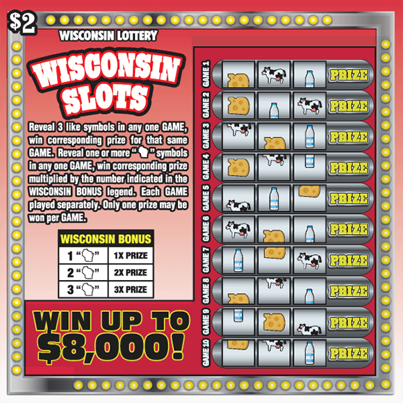 image of scratch ticket with a red and white ombre background and an image of a slot machine with multiple rows containing cheese milk and cow icons covering the winning numbers on scratch ticket from wisconsin lottery
