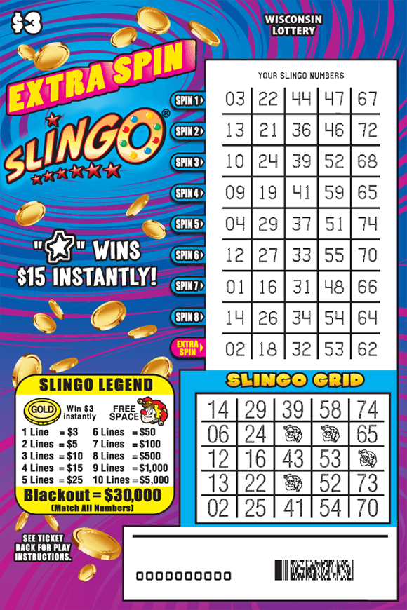 pink blue and purple background with a graph of fruits bells and horseshoes on the slingo chart and down below is a pink chart showing your slingo grid as well as the key as to how to play the game on scratch ticket from wisconsin lottery
