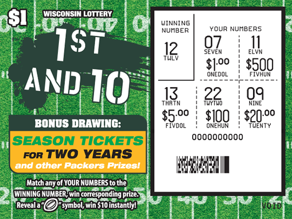 background of ticket is a football field with yard lines and the play area is scratched revealing the winning numbers on scratch ticket from wisconsin lottery