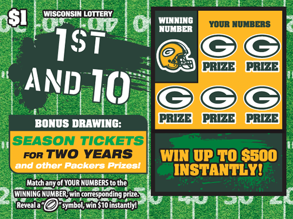 background of ticket is a football field with yard lines and the play area is a gold background with the green bay packers logo covering the winning numbers on scratch ticket from wisconsin lottery