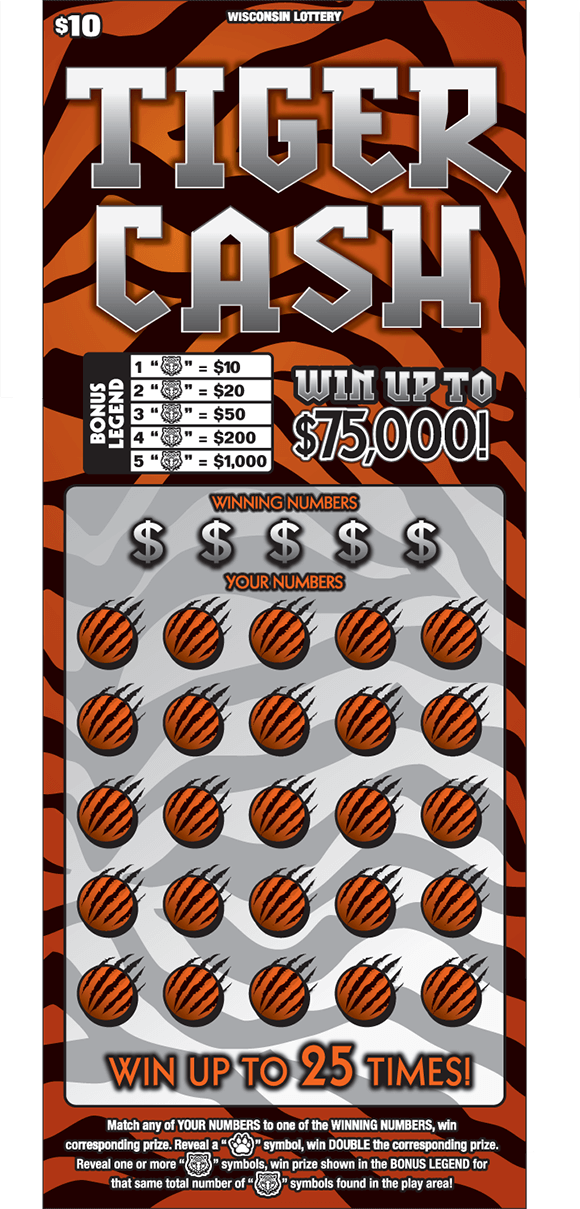 background of tiger cash ticket has orange and black tiger stripes and the play area is covered with orange circles and black whiskers on scratch ticket from wisconsin lottery
