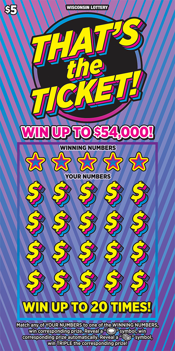 background is an ombre purple and pink with light blue stiped lines running across the ticket the dollar sings are in 3D format with yellow pink and blue outlines on scratch ticket from wisconsin lottery