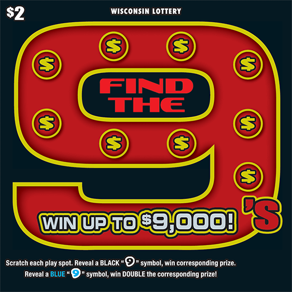 black background with image of a giant number nine on the ticket with nine dollar bill symbols that are covering up the winning numbers in gold and red on scratch ticket from wisconsin lottery