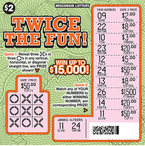 light green background with squiggly lines all over the ticket background in black and the winning numbers are scratched revealing a pink background on scratch ticket from wisconsin lottery