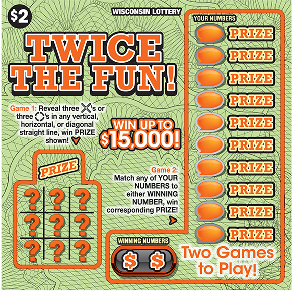 light green background with squiggly lines all over the ticket background in black and the winning numbers are covered in orange bubbles on scratch ticket from wisconsin lottery